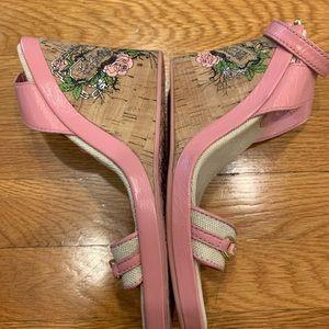 Pink Coach Elette cork wedge sandal